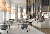 3d rendering nice restaurant with elegant decoration