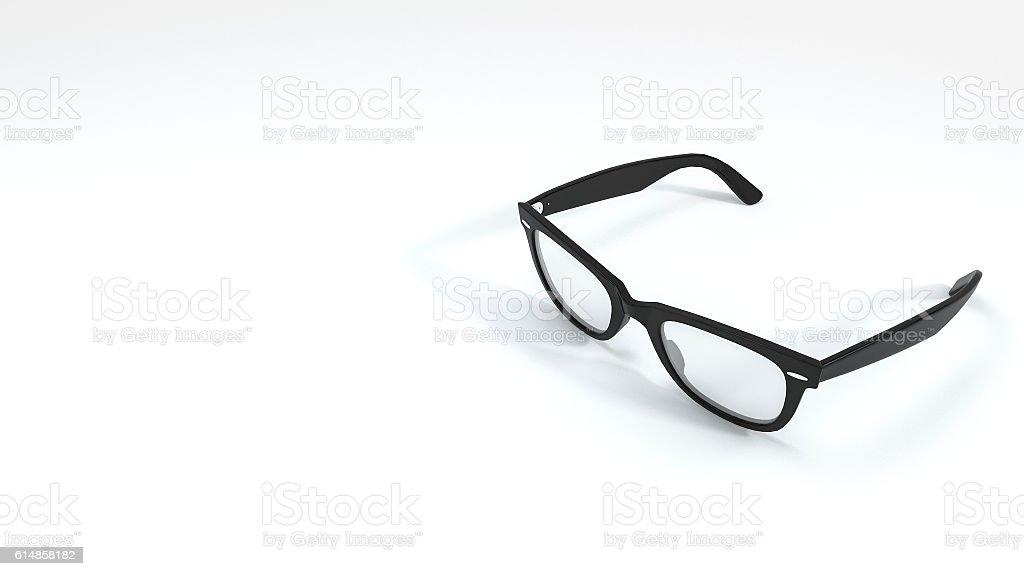 3d rendering nice shape black eyeglasses in white background – Foto