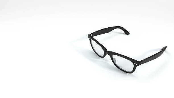 3d rendering nice shape black eyeglasses in white background - spectacles stock photos and pictures