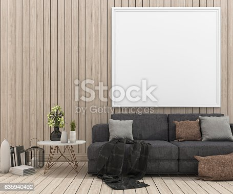 istock 3d rendering nice sofa with mock up picture frame 635940492