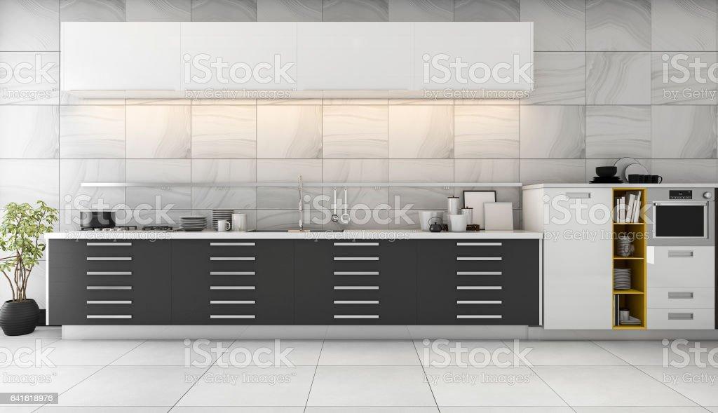 Modern Zwart Keuken : D rendering mooie tegel keuken met een modern zwart design