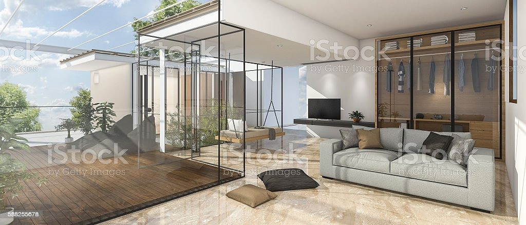 3d Rendering Nice View Living Room With Reflect Stone Tile Royalty Free  Stock Photo Part 75