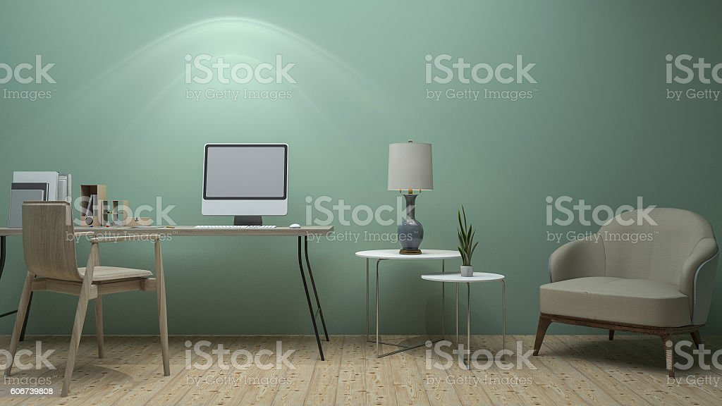 3d Rendering Nice Vintage Green Working Room With Classic Furniture