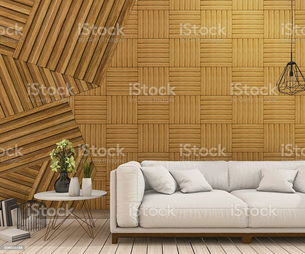 Cool 3D Rendering Nice White Sofa With Abstract Wood Wall Design Pdpeps Interior Chair Design Pdpepsorg