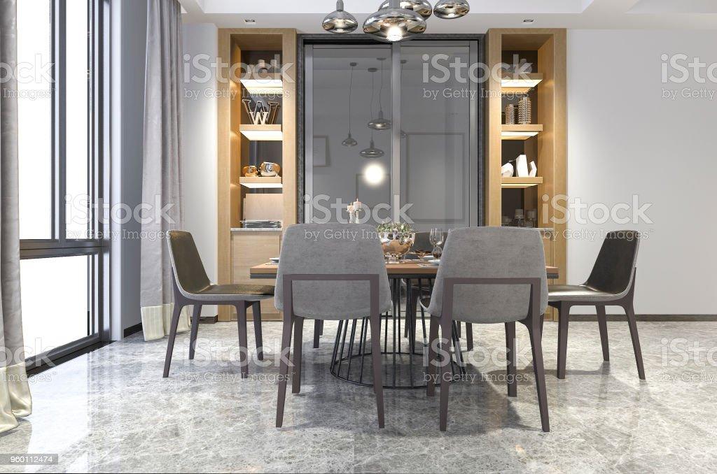 D rendering mooi houten eetkamer met plank decor idee stockfoto