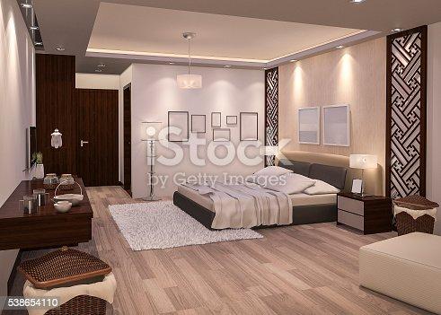 istock 3d rendering night bedroom with parquet floor 538654110
