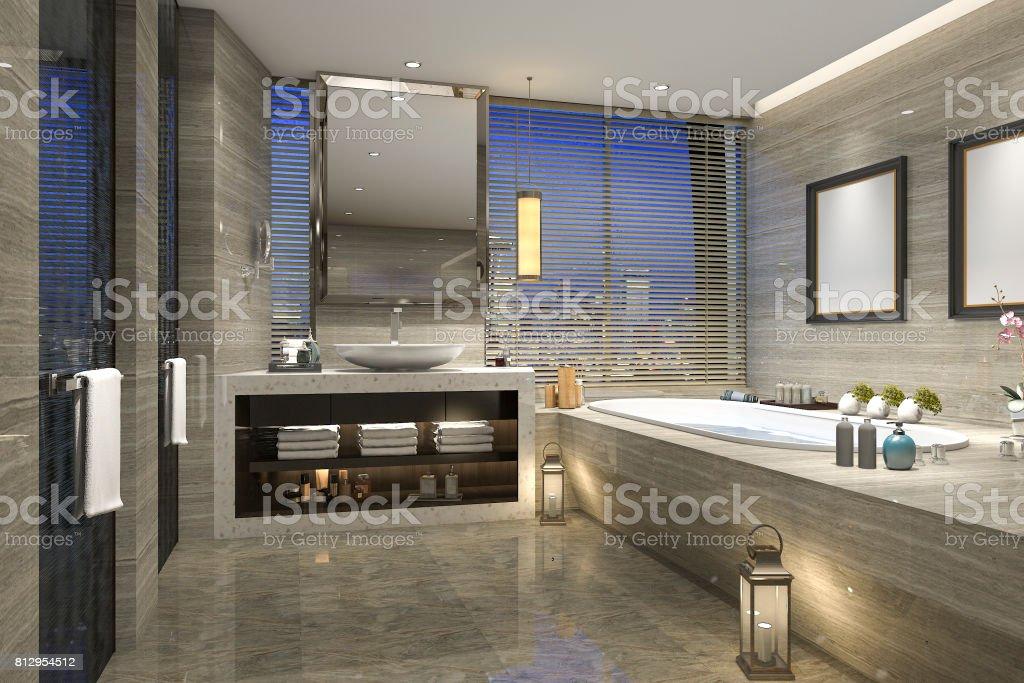 3d Render Noche Vista Cuarto De Baño Con Diseño De Lujo Moderno Foto ...
