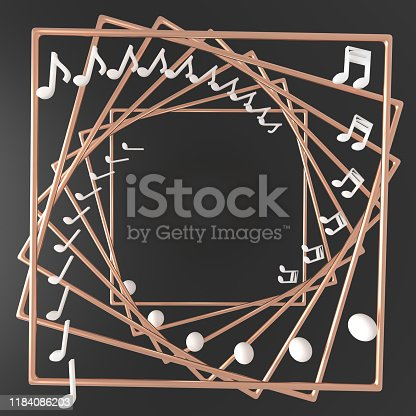 istock 3d rendering note and copper frame spiral with flying holographic geometric shapes Trendy background for product text presentation music or social media banners and promotion 1184086203