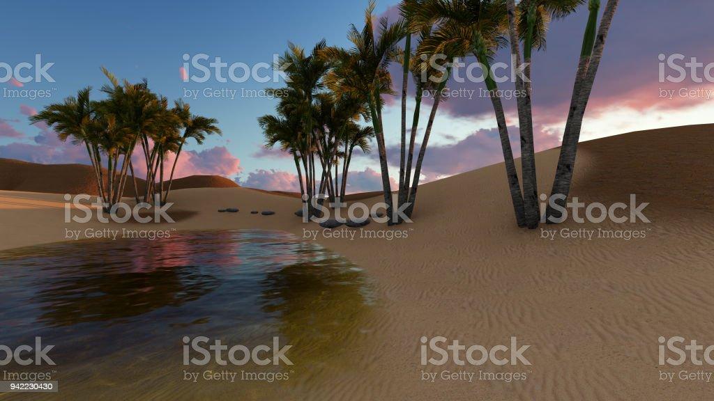 3d rendering - Oasis in the desert stock photo