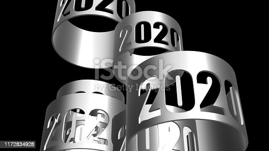 istock 3d rendering of 2020 texture isolated with black background color 1172834928