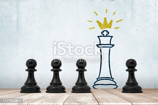 istock 3d rendering of 4 black chess pawns on white wooden floor with chess king drawn on the wall 1177010517