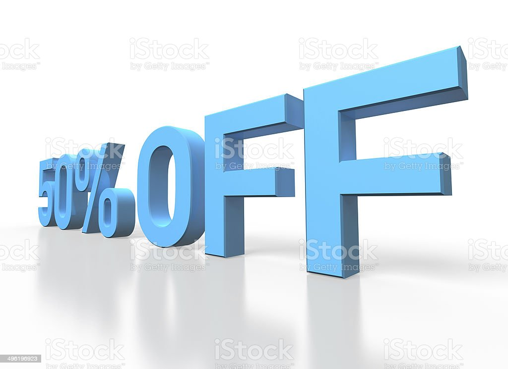 3d rendering of a 50 percent off blue text stock photo
