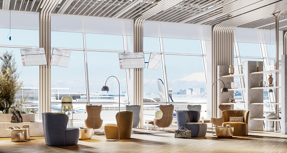 Large waiting area in vip lounge at the airport. Digitally generated image of airport premium lounge.