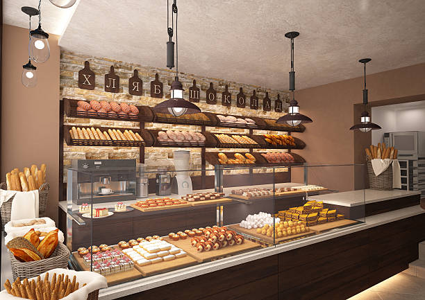 3d rendering of a bakery shop interior - bakery stockfoto's en -beelden