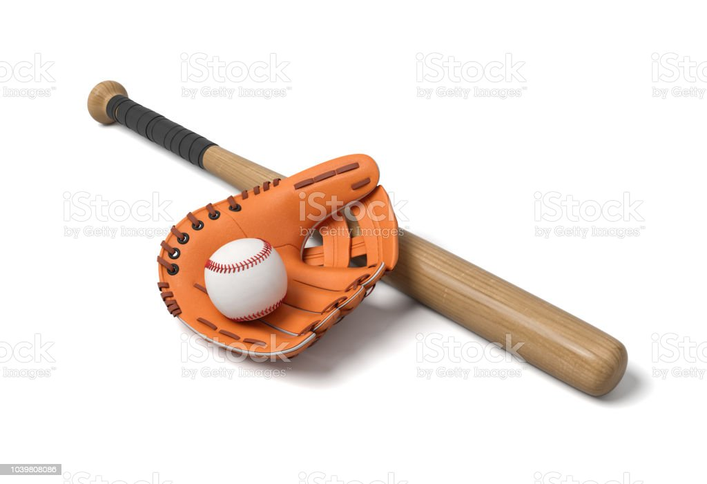 3d rendering of a baseball lying inside a large leather glove near a wooden bat on a white background. stock photo