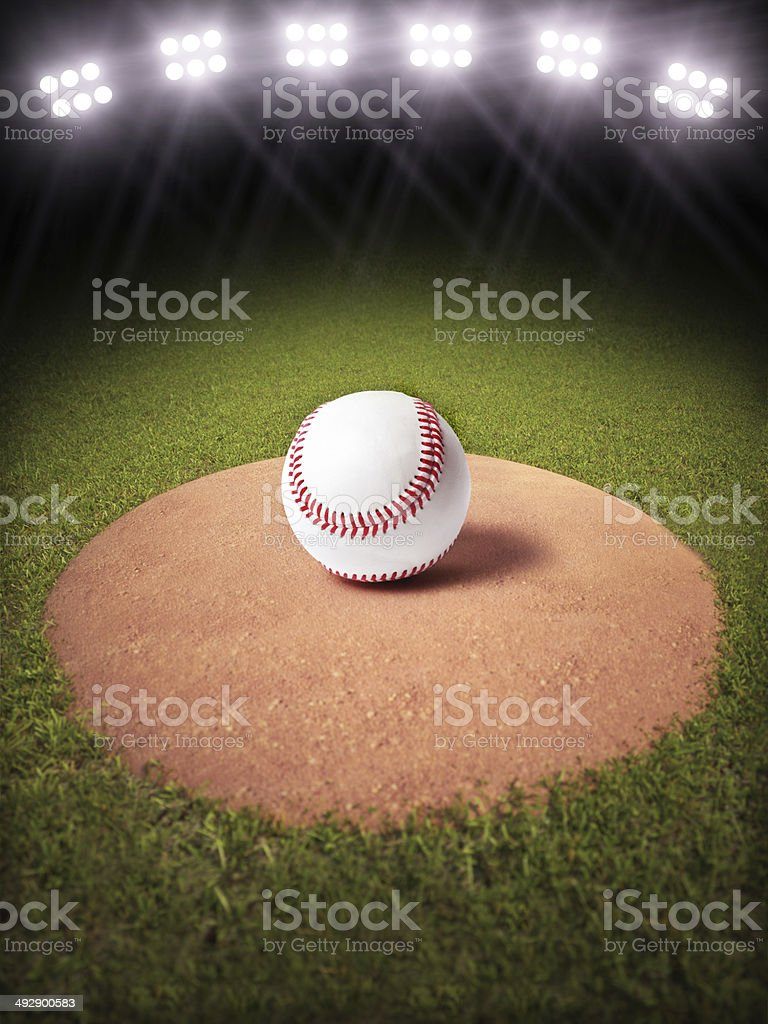 3d rendering of a Baseball on a pitchers mound stock photo