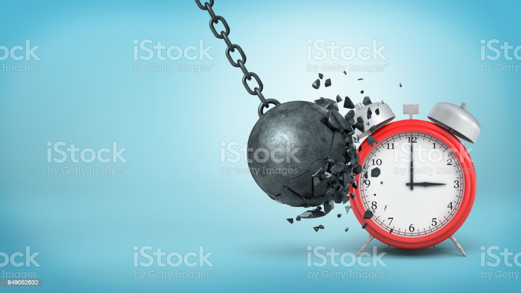 3d rendering of a big black iron wrecking ball breaks itself when hitting a large red alarm clock stock photo