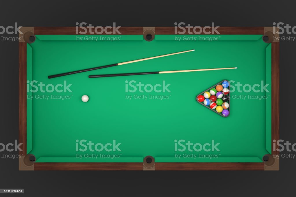 3d rendering of a billiards table with two cue sticks and a rack with balls in top view stock photo