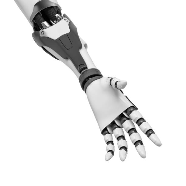 3d rendering of a black and white robotic hand reaching with open palm and relaxed fingers in close-up 3d rendering of a black and white robotic hand reaching with open palm and relaxed fingers in close-up. Robotics and friendship. Looking for cooperation. Genuine help. prosthetic hand stock pictures, royalty-free photos & images