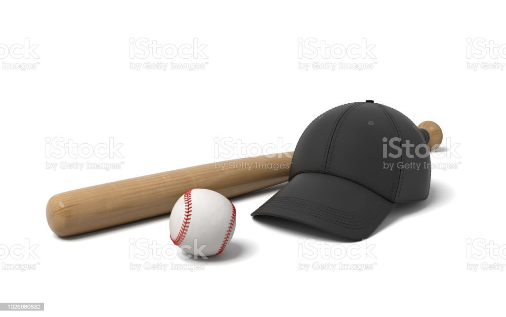 3d rendering of a black baseball cap lying near a wooden bat and a white ball on a white background stock photo