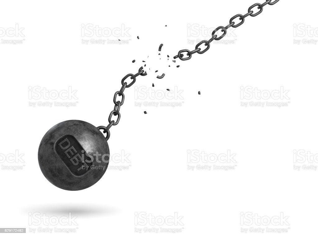 3d rendering of a black iron wrecking ball with a writing DEBT on it swings on a broken chain stock photo