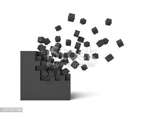 istock 3d rendering of a black square on a white background starting to get destroyed piece by piece. 1077221750