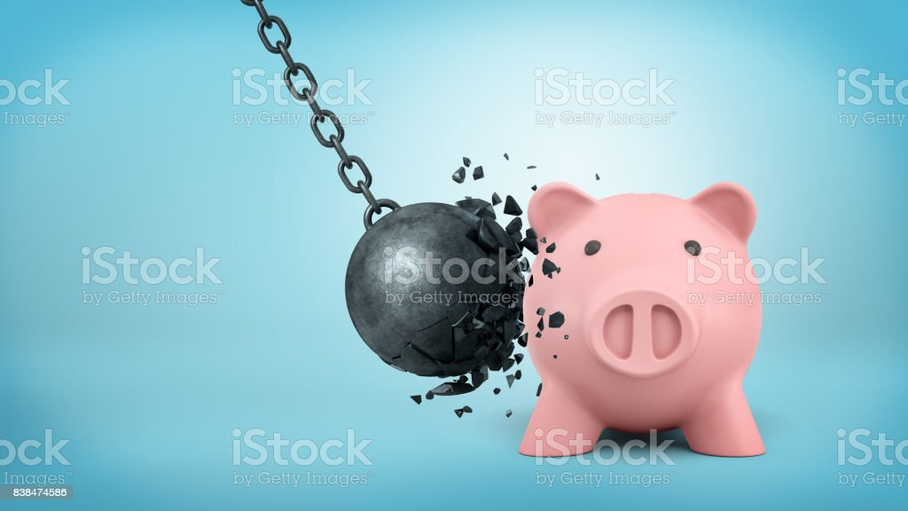 3d rendering of a black swinging wrecking ball breaks itself when collides with a large piggy bank stock photo