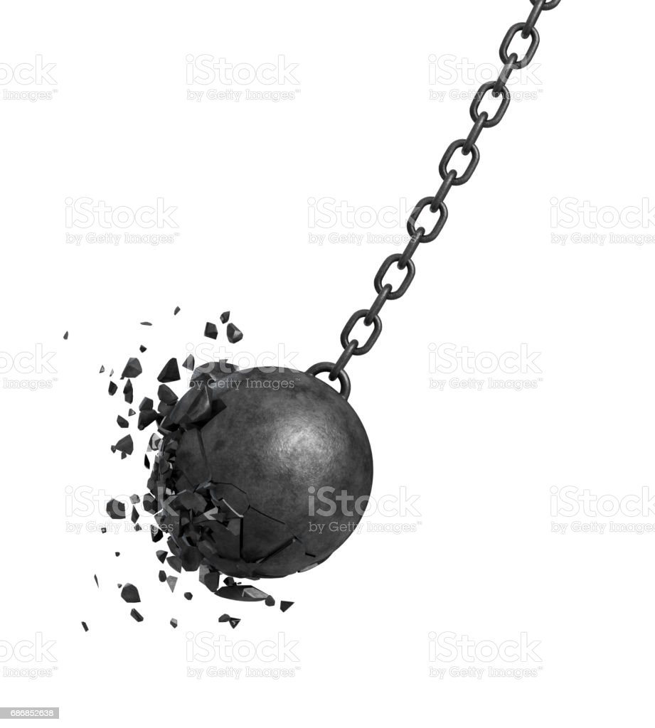 3d rendering of a black swinging wrecking ball crashing into a wall on white background stock photo