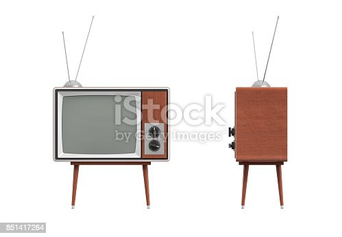 istock 3d rendering of a blank retro TV set with an antenna stands on a low four legged table on white background 851417264