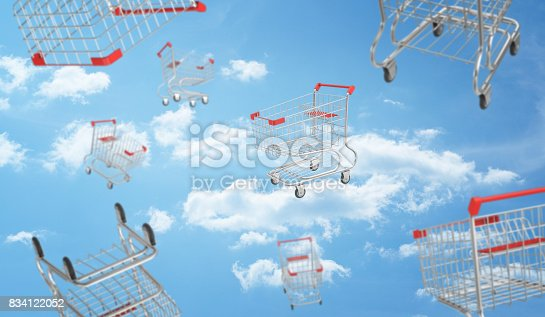 istock 3d rendering of a blue cloudy sky full of flying and falling supermarket carts in different views 834122052