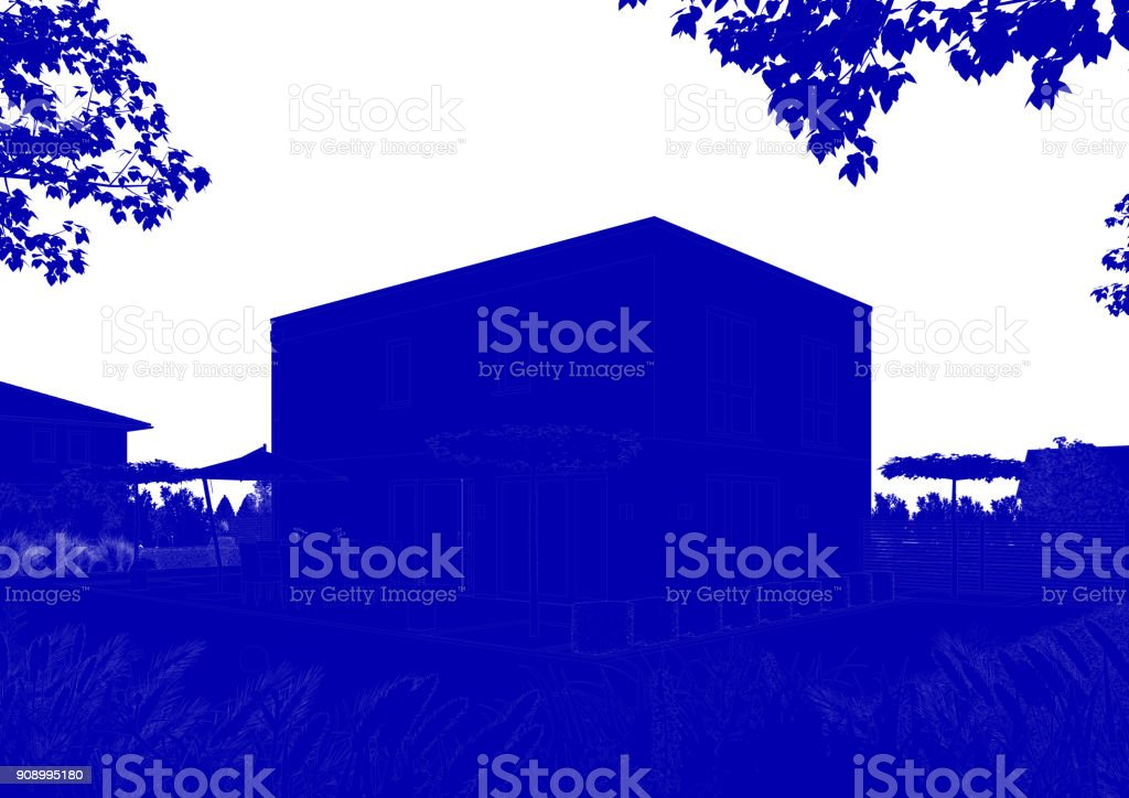 3d rendering of a blue house design blueprint stock photo more 3d rendering of a blue house design blueprint royalty free stock photo malvernweather Gallery