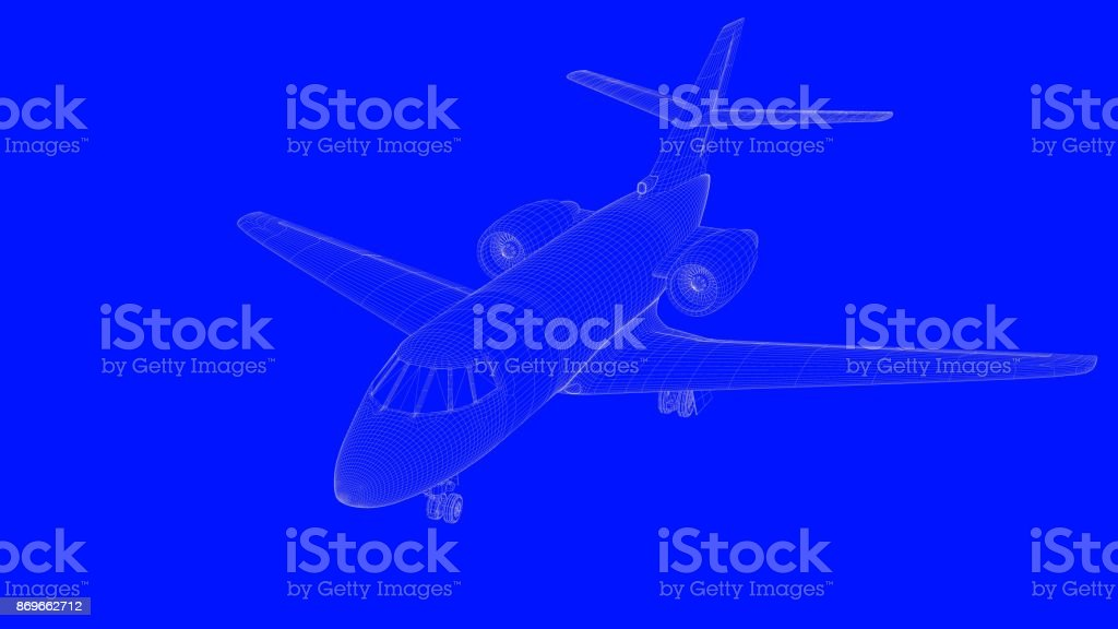 3d rendering of a blue print airplane in white lines on a blue background stock photo