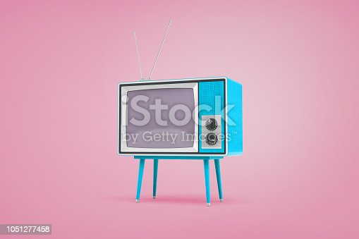 istock 3d rendering of a blue retro TV set standing on legs and with antennas on top stand on pastel pink background. 1051277458