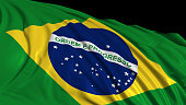3d rendering of a Brazilian flag. The flag develops smoothly in the wind