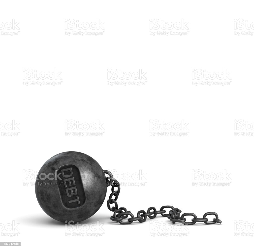 3d rendering of a broken iron chain that used to hold a large iron wrecking ball with letters DEBT on it stock photo
