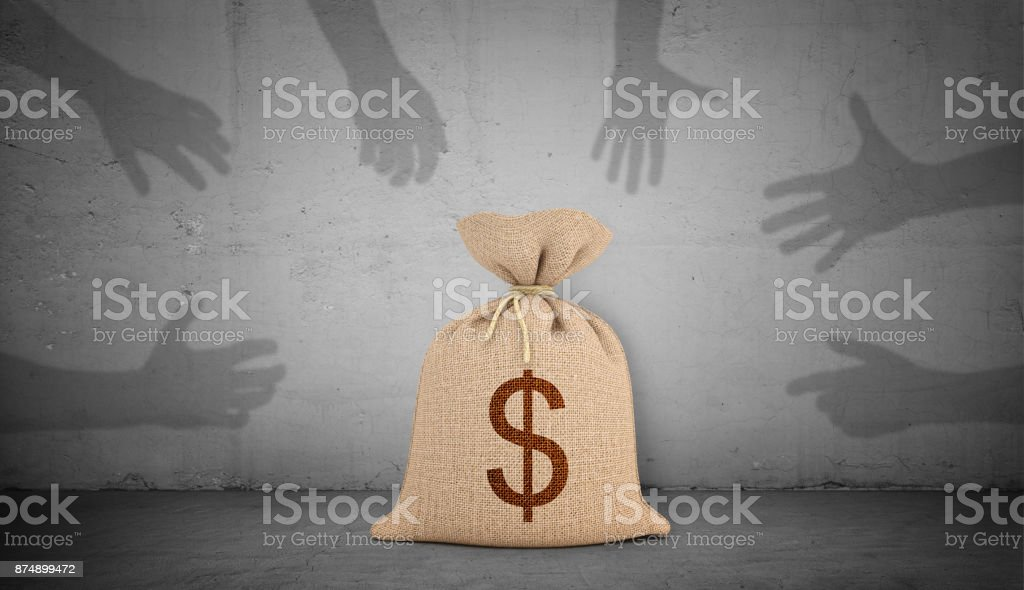 3d rendering of a brown money bag with a dollar sign stands on concrete background with many shadow hands grabbing and pointing at it. stock photo