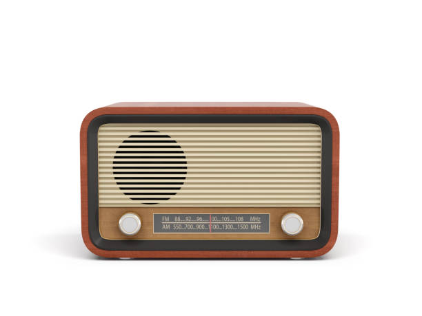 3d rendering of a brown rounded retro style radio receiver with an analogue tuner - trasmissione radiofonica foto e immagini stock