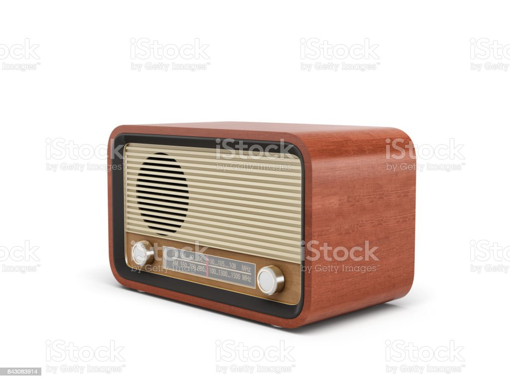 3d Rendering Of A Brown Rounded Retro Style Radio Receiver