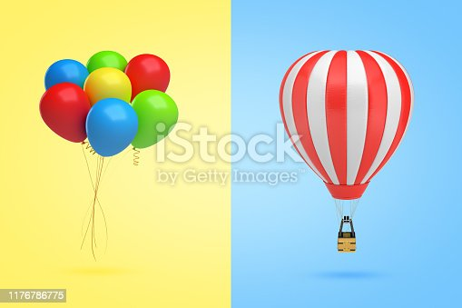istock 3d rendering of a bundle of multicolored balloons on yellow background on the left and of a hot-air balloon on light-blue background on the right. 1176786775