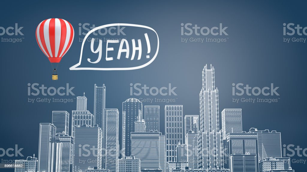 3d rendering of a chalk drawn cityscape with many skyscrapers and a striped hot air balloon flying above it stock photo