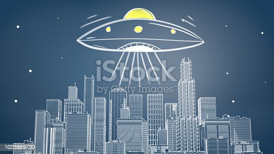 istock 3d rendering of a chalk drawn cityscape with many skyscrapers under a giant flying saucer emitting yellow light and rays 1023889720