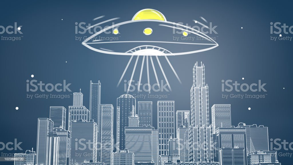 3d rendering of a chalk drawn cityscape with many skyscrapers under a giant flying saucer emitting yellow light and rays stock photo