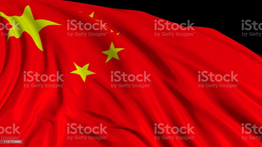 3d rendering of a Chinese flag. The flag develops smoothly in the wind stock photo