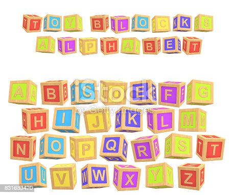 istock 3d rendering of a colorful alphabet with a writing Toy Blocks Alphabet above all letters 831683420