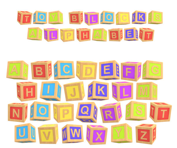 3d rendering of a colorful alphabet with a writing Toy Blocks Alphabet above all letters stock photo