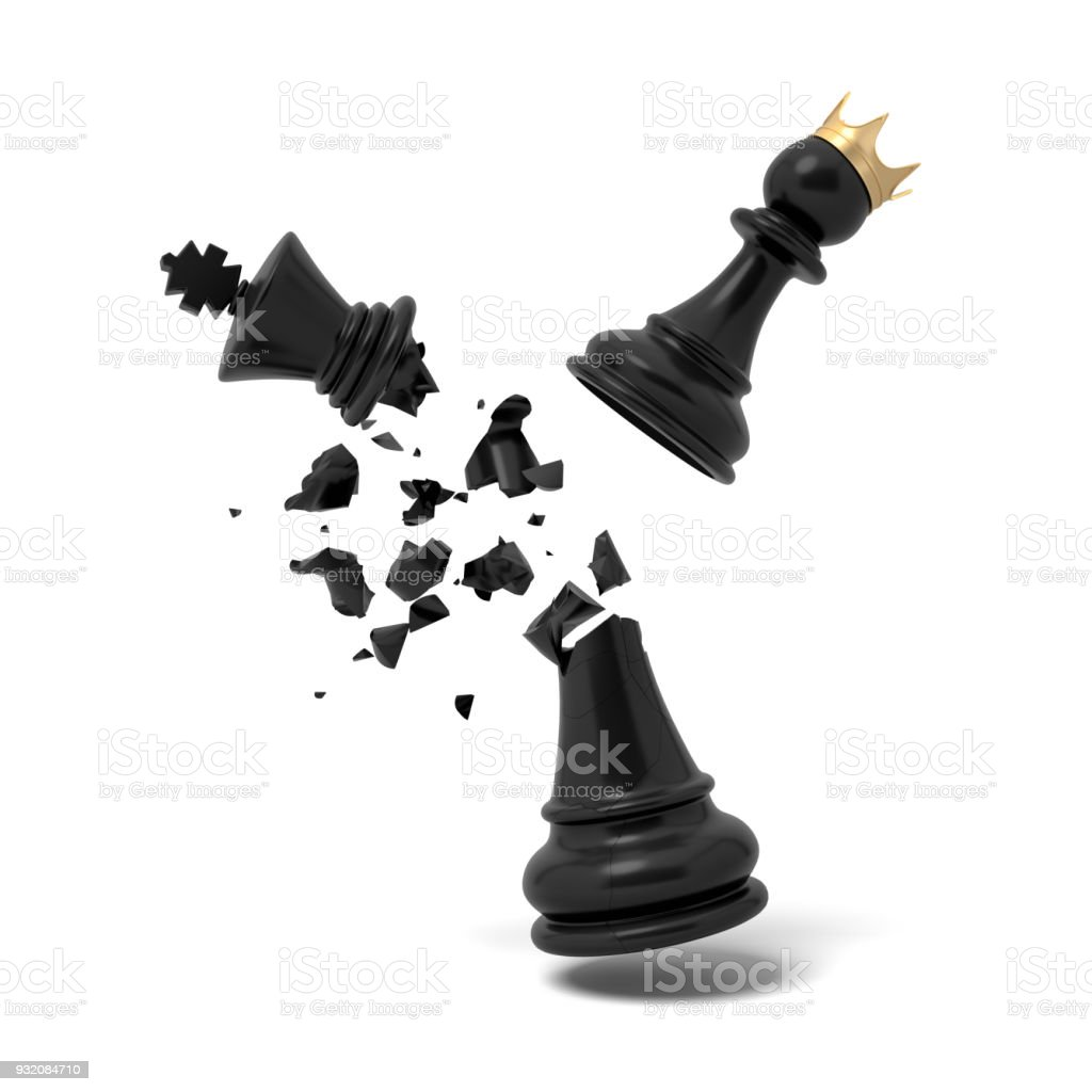 3d Rendering Of A Cracked Black Chess King Piece Breaks Under Flying White Pawn With