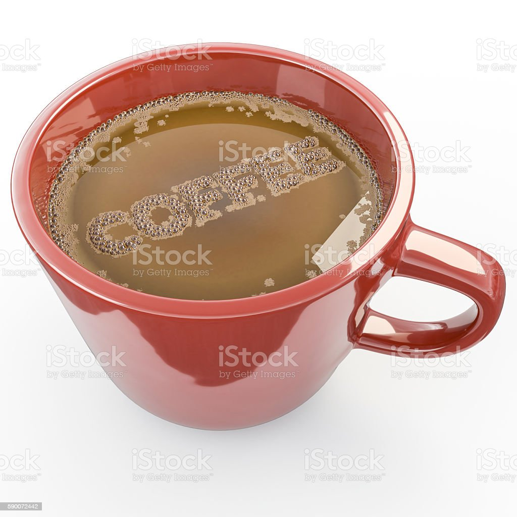 3d rendering of A cup of coffee with bubbles text stock photo