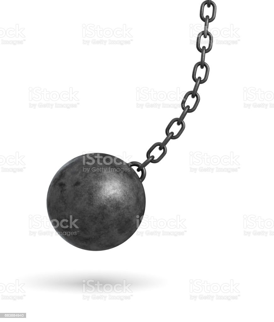 3d rendering of a dark black wrecking ball hanging from a chain and swinging in one side stock photo