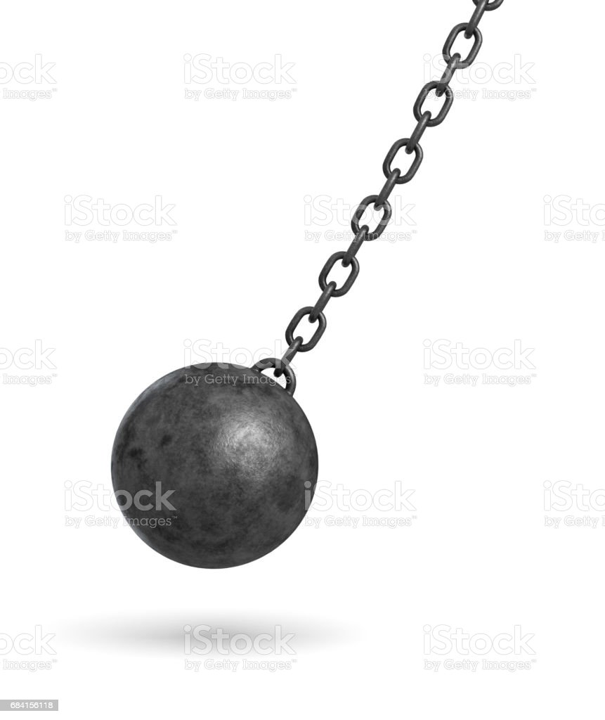 3d rendering of a dark black wrecking ball hanging from a chain and swinging in one side foto stock royalty-free