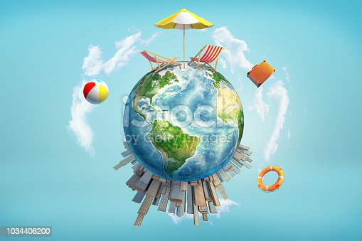 3d rendering of a Earth globe with a sun umbrella and lounge chairs on its upper surface and skyscrapers on the bottom surface. Summer vacation. Away from office. Work and rest.
